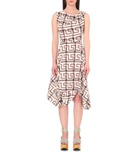 Anglomania Aztec Print Stretch Cotton Dress Natural Ox Blood