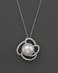 Bloomingdale's Cultured Freshwater Pearl Pendant Necklace With Diamonds In 14K White Gold 18