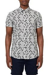 Topman Men's Floral Print Short Sleeve Shirt