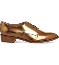 Poste Beatrice Metallic Leather Oxford Shoes