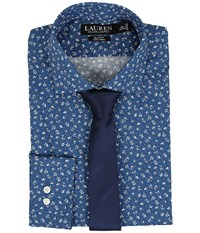 Lauren Ralph Lauren Slim Estate Collar Navy Blue Men's Long Sleeve Button Up Multi