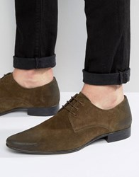 Asos Lace Up Shoes In Green Suede Khaki