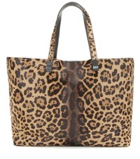 Victoria Beckham Simple Printed Calf Hair Shopper Brown