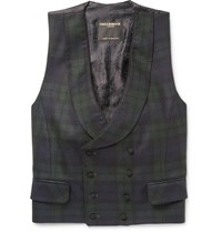 Favourbrook Double Breasted Checked Wool Waistcoat Navy