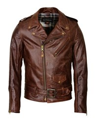 Schott Fitted Waxy Cowhide Motorcycle Jacket Brown