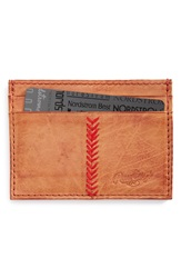 Rawlings Sports Accessories 'Baseball Stitch' Leather Card Case Tan