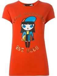 Love Moschino Doll Print T Shirt Red
