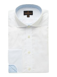 Simon Carter Double Cuff Poplin Shirt With Paisley Trim White