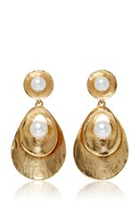Oscar De La Renta Pearl Gold Disc Drop Earrings