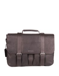 Kenneth Cole Reaction Double Gusset Messenger Bag Brown