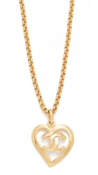 Wgaca Previously Owned Chanel Cc Open Heart Necklace Gold