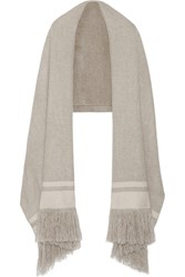Isabel Marant Fringed Striped Cashmere Scarf Gray