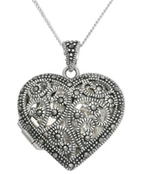 Genevieve And Grace Sterling Silver Necklace Marcasite Filigree Heart Locket Pendant