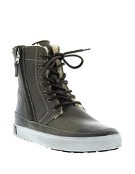 Blackstone Leather Lace Up High Top Sneakers Gull