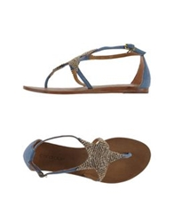 Coral Blue Thong Sandals Black