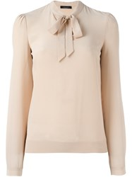 Roberto Collina Ribbon Collar Blouse Nude And Neutrals
