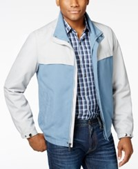 Perry Ellis Men's Colorblocked Stand Collar Jacket Alloy