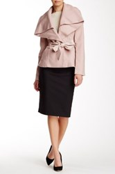 Blanc Noir Short Belted Wool Blend Faux Leather Contrast Coat Pink