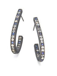 M.C.L By Matthew Campbell Laurenza Blue Sapphire White Topaz Blue Topaz And Sterling Silver J Hoop Earrings Black Multi