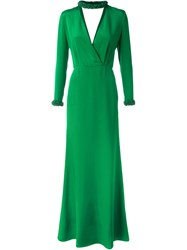 Emilio Pucci Beaded Collar Evening Dress Green