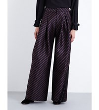 A.F.Vandevorst Party Striped Wide Leg Gabardine Trousers Midnight