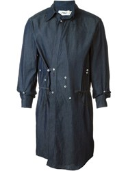 Mow Side Button Detail Fitted Coat Blue