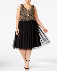 Adrianna Papell Plus Size Beaded Tulle A Line Dress Black