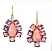 Irene Neuwirth One Of A Kind 18K Rose And White Gold Earring Set With Sapphire 18.06Cts Pink Tourmaline 11.49Cts And Full Cut Diamonds 0.16Cts On Pave Hooks 0.03Cts
