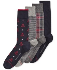 Tommy Hilfiger Men's 4 Pack Christmas Tree Socks Navy Grey Assorted