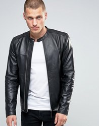 Pretty Green Leather Biker Jacket In Slim Fit Black Black