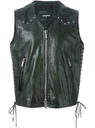 Dsquared2 Leather Studded Waistcoat Green