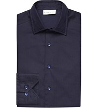 Etro Regular Fit Chevron Pattern Cotton Twill Shirt Blue