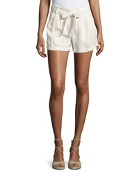 On The Road Belted Mid Rise Shorts Cream