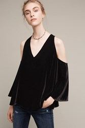 Anthropologie Velvet Open Shoulder V Neck Blouse Black