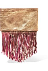 Maje Saul Fringed Metallic Suede Clutch