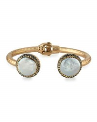 Panacea Luxe Hinged Pearly Crystal Bangle Bracelet White