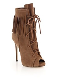 Giuseppe Zanotti Fringed Suede Lace Up Peep Toe Booties Brown