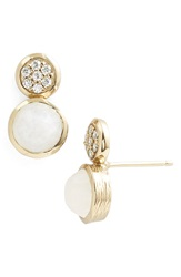Melinda Maria 'Savannah' Stud Earrings Moonstone Gold