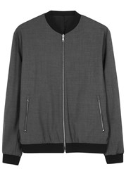 Vince Reversible Stretch Wool Bomber Jacket Grey