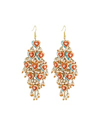 Chamak By Priya Kakkar Diamond Shape Tiered Earrings Orange