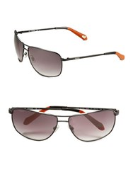 Fossil 64Mm Square Sunglasses Silver