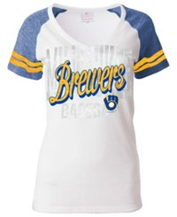 5Th And Ocean Women's Milwaukee Brewers White Hot T Shirt