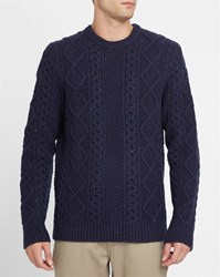 Levi's Navy Flecked Cabled Woollen Sweater Blue