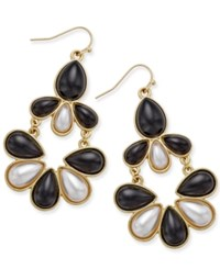 Thalia Sodi Gold Tone Imitation Pearl And Black Teardrop Chandelier Earrings Only At Macy's Blk Wht