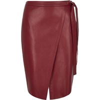 River Island Womens Red Leather Look Wrap Midi Skirt