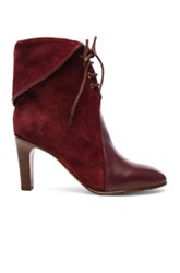 Chloe Suede Kole Ankle Boots In Red