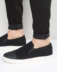 Asos Slip On Plimsolls In Black With Toe Cap Black