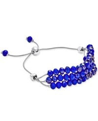 Charter Club Silver Tone Blue Bead Three Row Slider Bracelet Only At Macy's