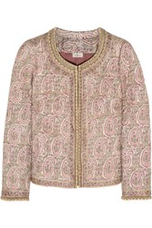 Talitha Paisley Print Quilted Tussar Silk Jacket Pink
