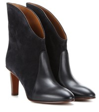 Chloe Kole Suede And Leather Ankle Boots Grey